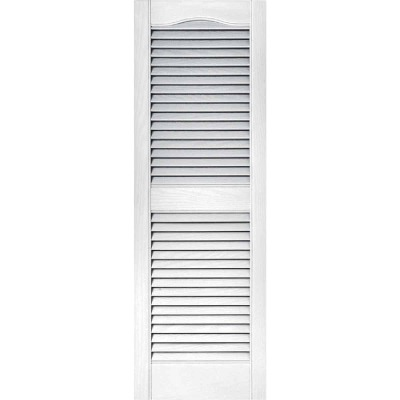 Builders Edge 15 In. x 43 In. Vinyl Louvered Shutter, (2-Pack)