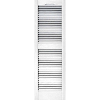 Builders Edge 15 In. x 48 In. Vinyl Louvered Shutter, (2-Pack)