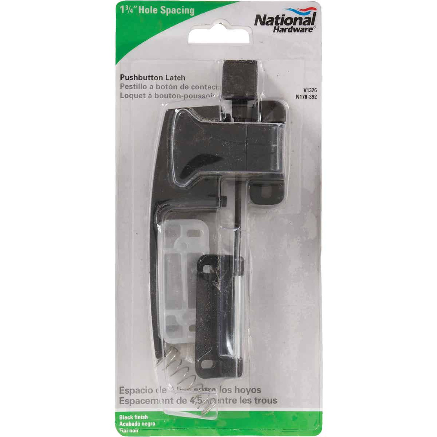National Black Push Button Latch with 1-3/4 In. Hole Spacing Image 2
