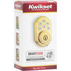 Kwikset Signature Series SmartCode Polished Brass Electronic Deadbolt Image 5
