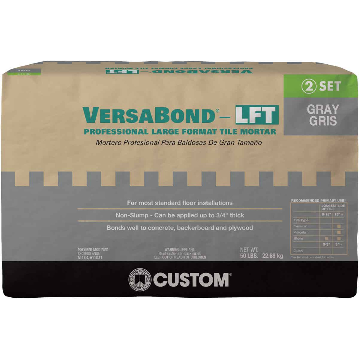 Custom Building Products VersaBond 50 Lb. Gray Large Format Tile Mortar Image 1
