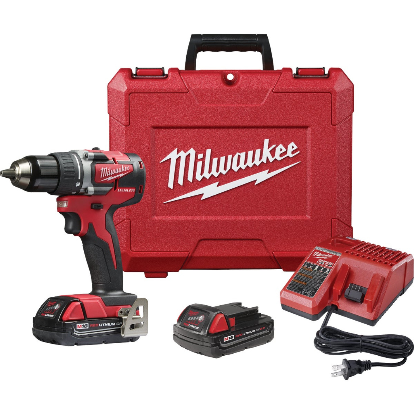 Milwaukee M18 18 Volt Lithium-Ion 1/2 In. Brushless Compact Cordless Drill Kit Image 1