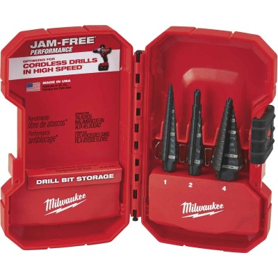 Milwaukee 3-Piece Black Oxide Step Drill Bit Set, #1 #2 #4