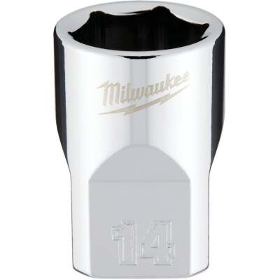 Milwaukee 3/8 In. Drive 14 mm 6-Point Shallow Metric Socket with FOUR FLAT Sides