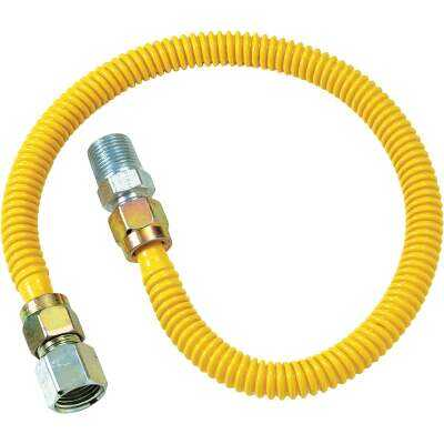 Dormont 1/2 In. OD x 18 In. Coated Stainless Steel Gas Connector, 1/2 In. FIP x 1/2 In. MIP (Tapped 3/8 In. FIP)
