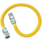 Dormont 1/2 In. OD x 24 In. Coated Stainless Steel Gas Connector, 1/2 In. FIP x 1/2 In. MIP (Tapped 3/8 In. FIP) Image 1