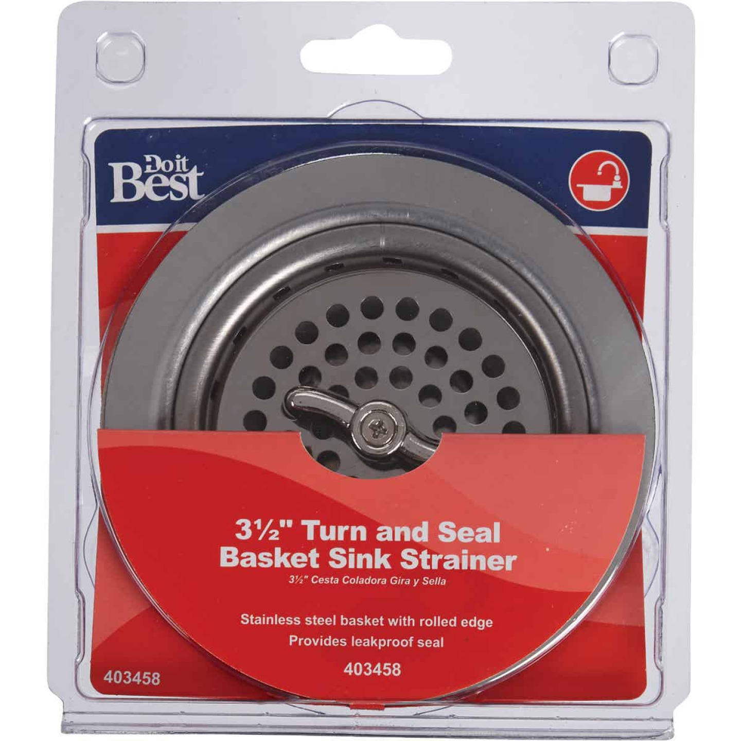 Do it 3-1/2 In. Chrome Turn 'n Seal Basket Strainer Assembly Image 2