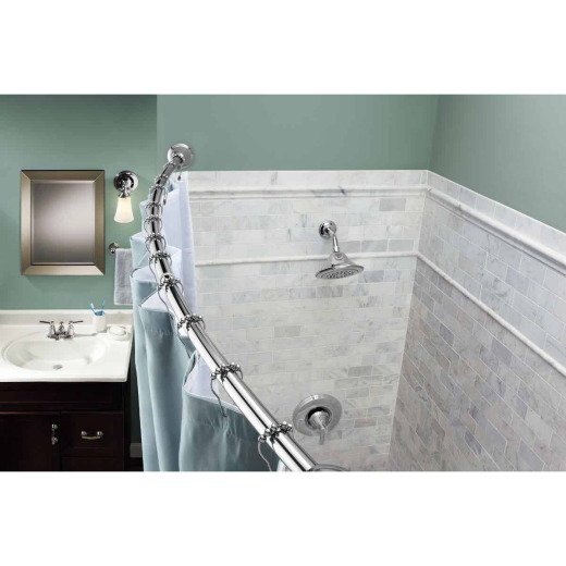 Moen Curved 57 In. To 60 In. Tension Shower Rod with Pivoting Flanges in Chrome