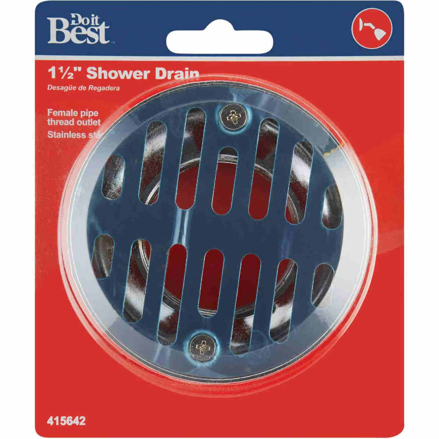 Do it 1-1/2 In. Cast Brass Shower Drain with 3-1/2 In. Stainless Steel Strainer Image 2