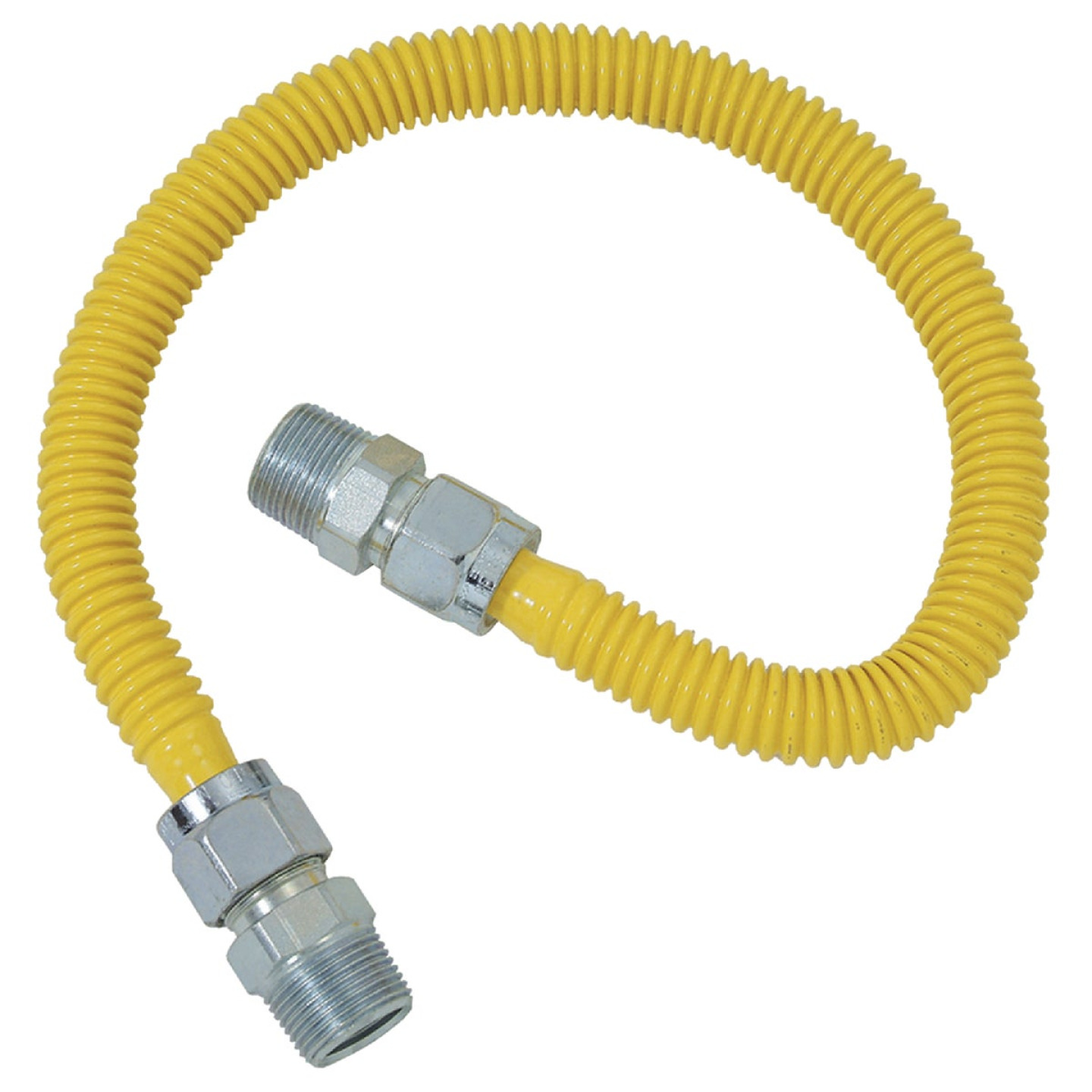 Dormont 5/8 In. OD x 24 In. Coated Stainless Steel Gas Connector, 1/2 In. MIP (Tapped 3/8 In. FIP) x 1/2 In. MIP (Tapped 3/8 In. FIP) Image 1