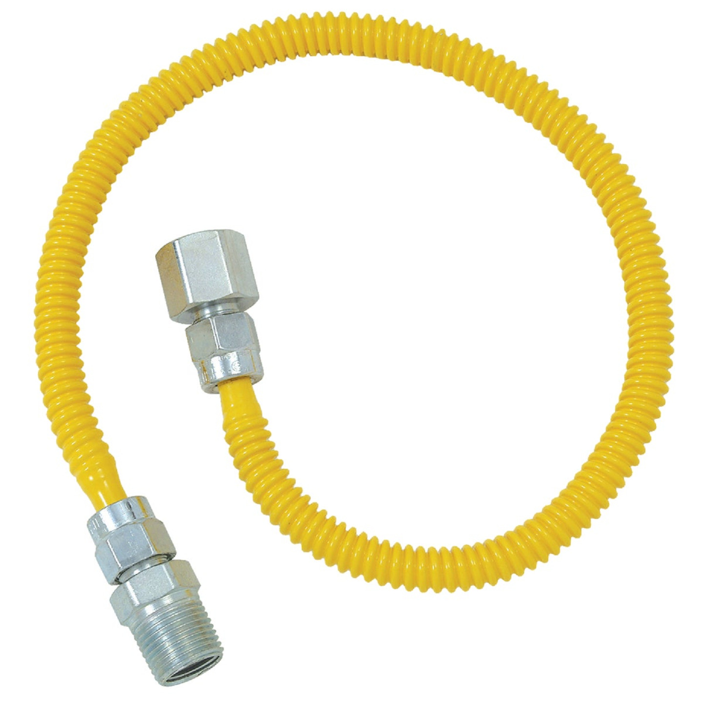 Dormont 3/8 In. OD x 18 In. Coated Stainless Steel Gas Connector, 1/2 In. FIP x 1/2 In. MIP (Tapped 3/8 In. FIP) Image 1
