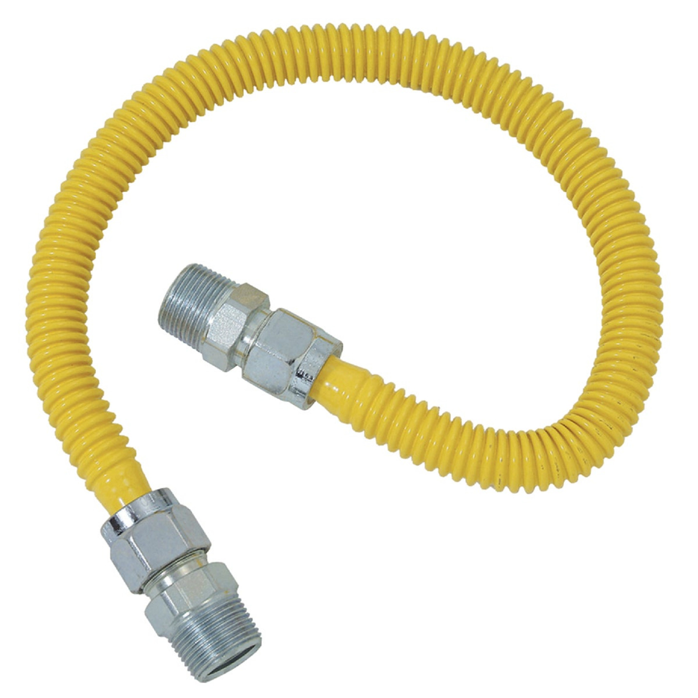 Dormont 5/8 In. OD x 60 In. Coated Stainless Steel Gas Connector, 3/4 In. MIP x 1/2 In. MIP (Tapped 3/8 In. FIP) Image 1