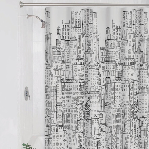 Zenith Zenna Home 70 In. x 72 In. White/Black PEVA Cityscape Shower Curtain Set
