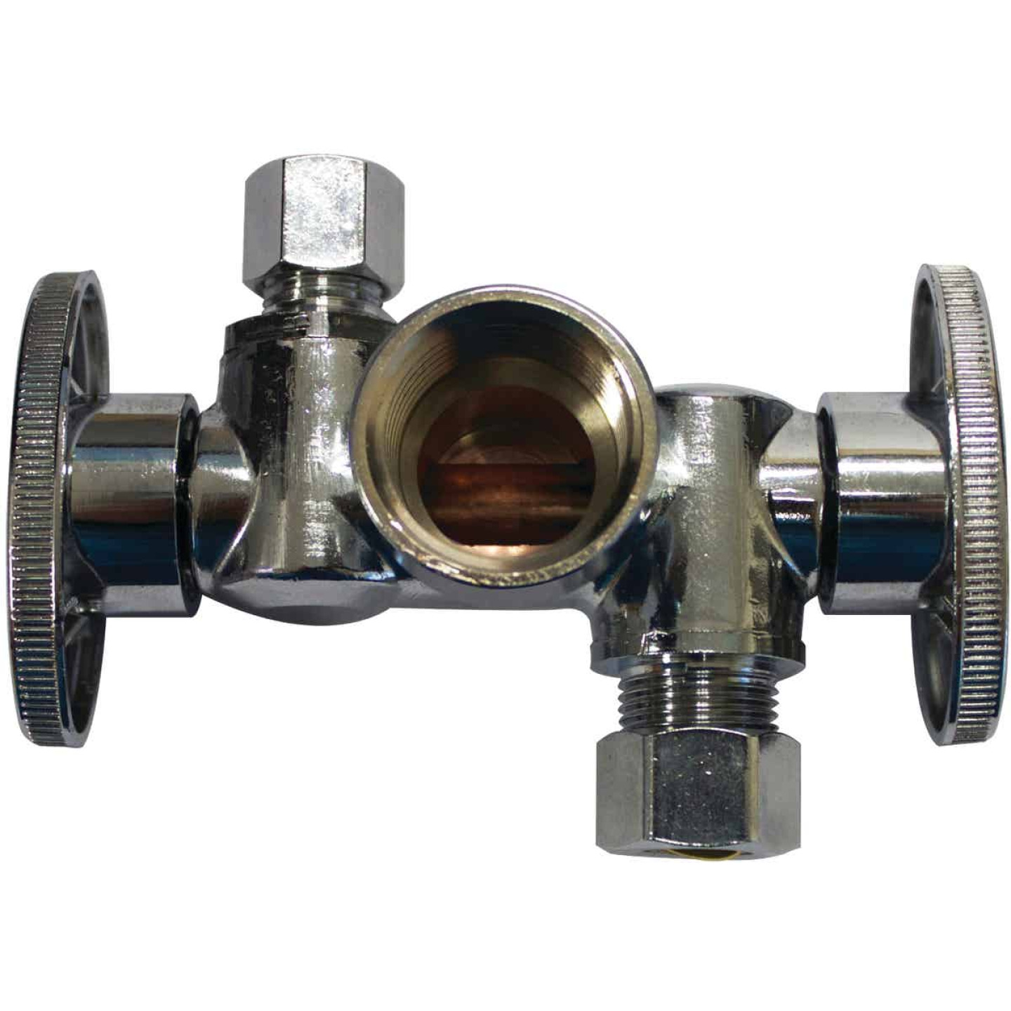 "Keeney 1/2"" FIP x 3/8"" OD x 1/4"" OD Quarter Turn Dual Shut-Off/Dual Outlet Valve Image 1"