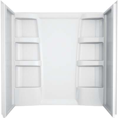 Delta Hycroft 3-Piece 60 In. L x 30 In. D (Bathtub) Tub Wall Kit in White