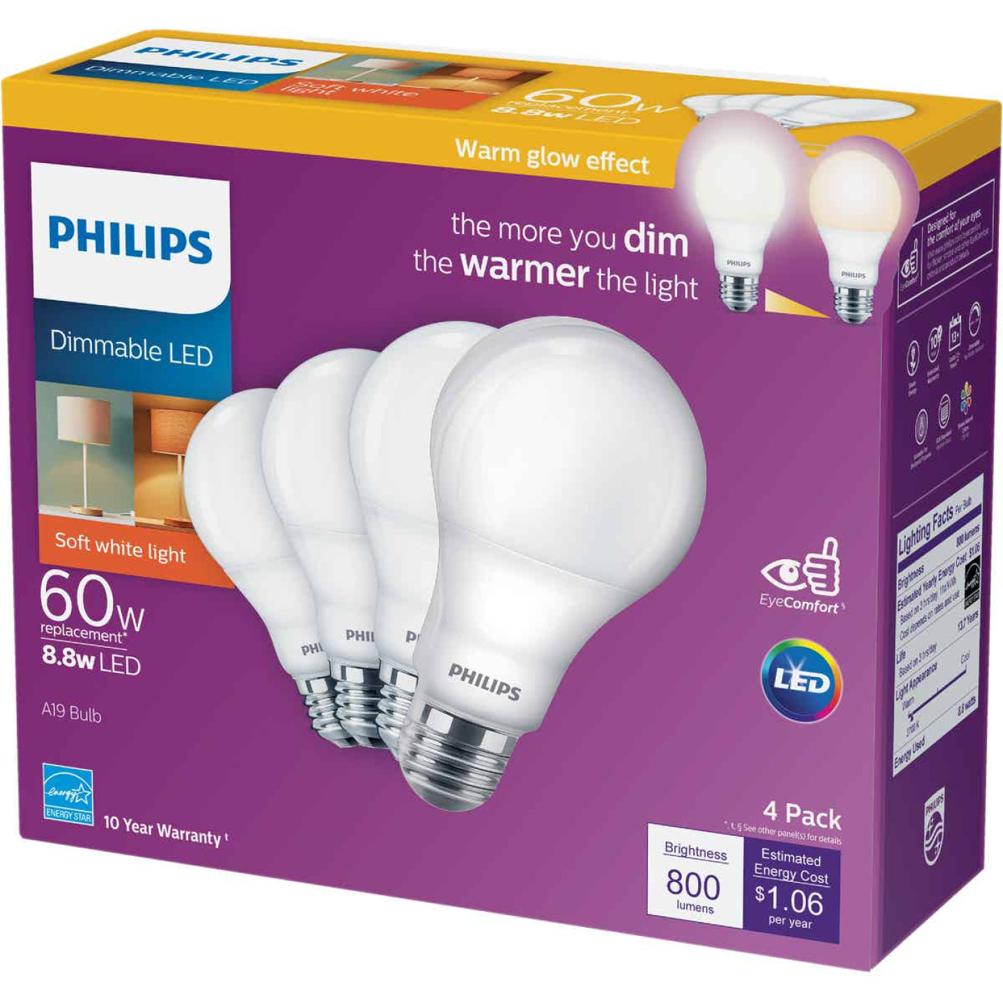 Philips Warm Glow 60W Equivalent Soft White A19 Medium Dimmable LED Light Bulb (4-Pack) Image 2