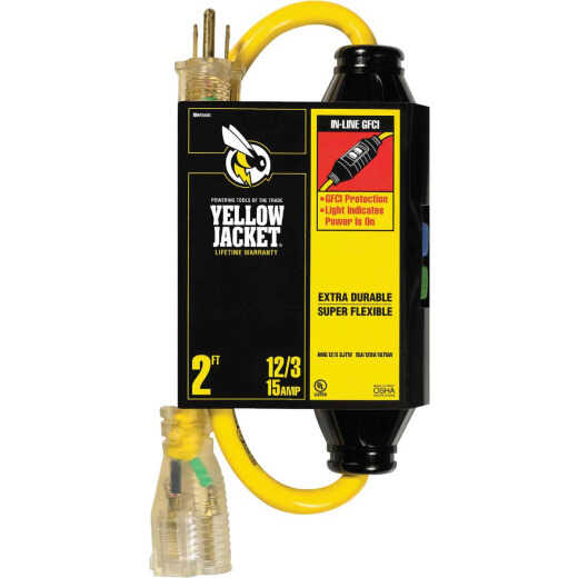 Yellow Jacket 2 Ft. 12/3 Contractor Grade GFCI Extension Cord