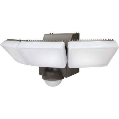IQ America Bronze 1200 Lm. LED Motion Sensing Battery Operated 3-Head Security Light Fixture