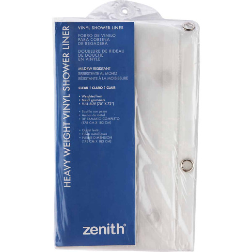 Zenith 70 In. x 72 In. Clear Medium Gauge PEVA Shower Curtain Liner