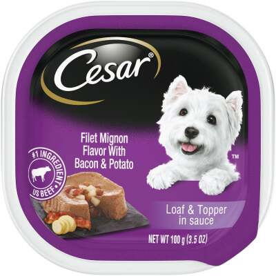 Cesar Loaf & Topper Filet Mignon with Bacon & Potato Adult Wet Dog Food, 3.5 Oz.