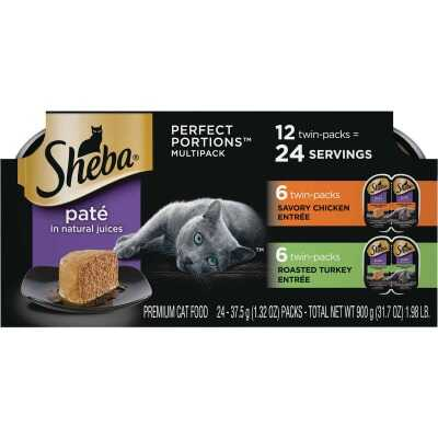 Sheba Perfect Portions Pate Adult Savory Chicken/Roasted Turkey Wet Cat Food (12-Pack)