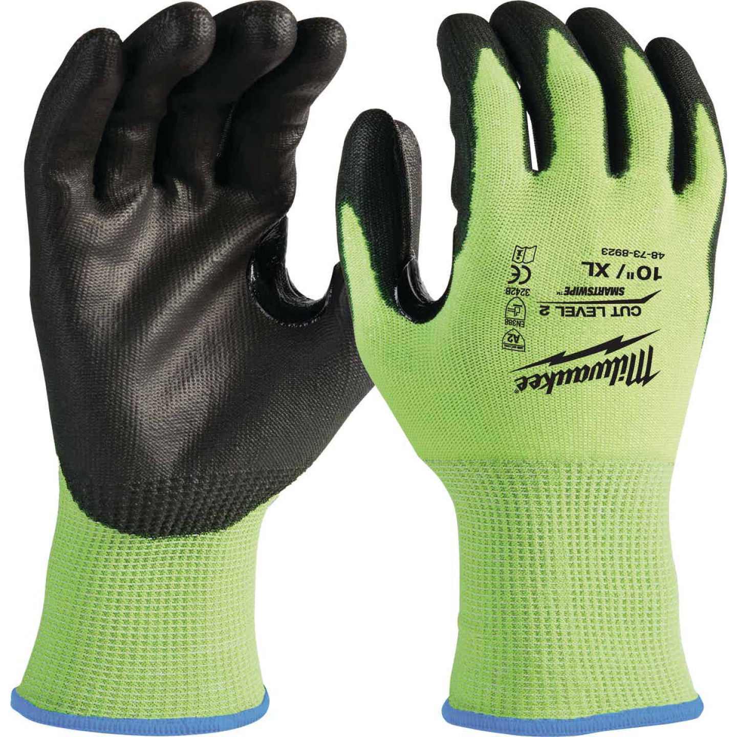 Milwaukee Men's XL Cut Level 2 High Vis Nitrile Dipped Glove Image 1