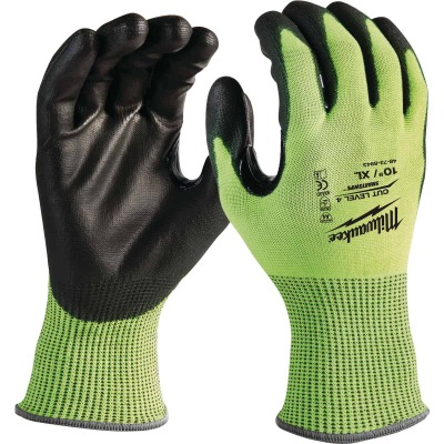 Milwaukee Men's Large Cut Level 3 High Vis Nitrile Dipped Glove