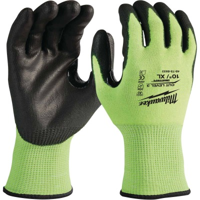 Milwaukee Men's XL Cut Level 3 High Vis Nitrile Dipped Glove