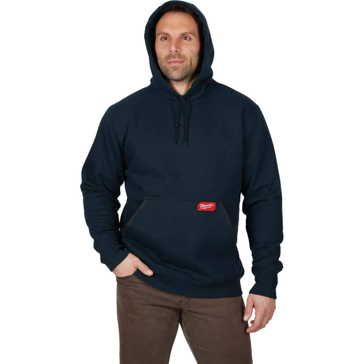 Milwaukee Small Navy Blue Heavy-Duty Pullover Hooded Sweatshirt Image 4