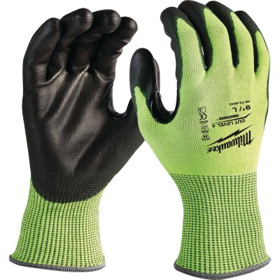 Milwaukee Men's Large Cut Level 4 High Vis Nitrile Dipped Glove