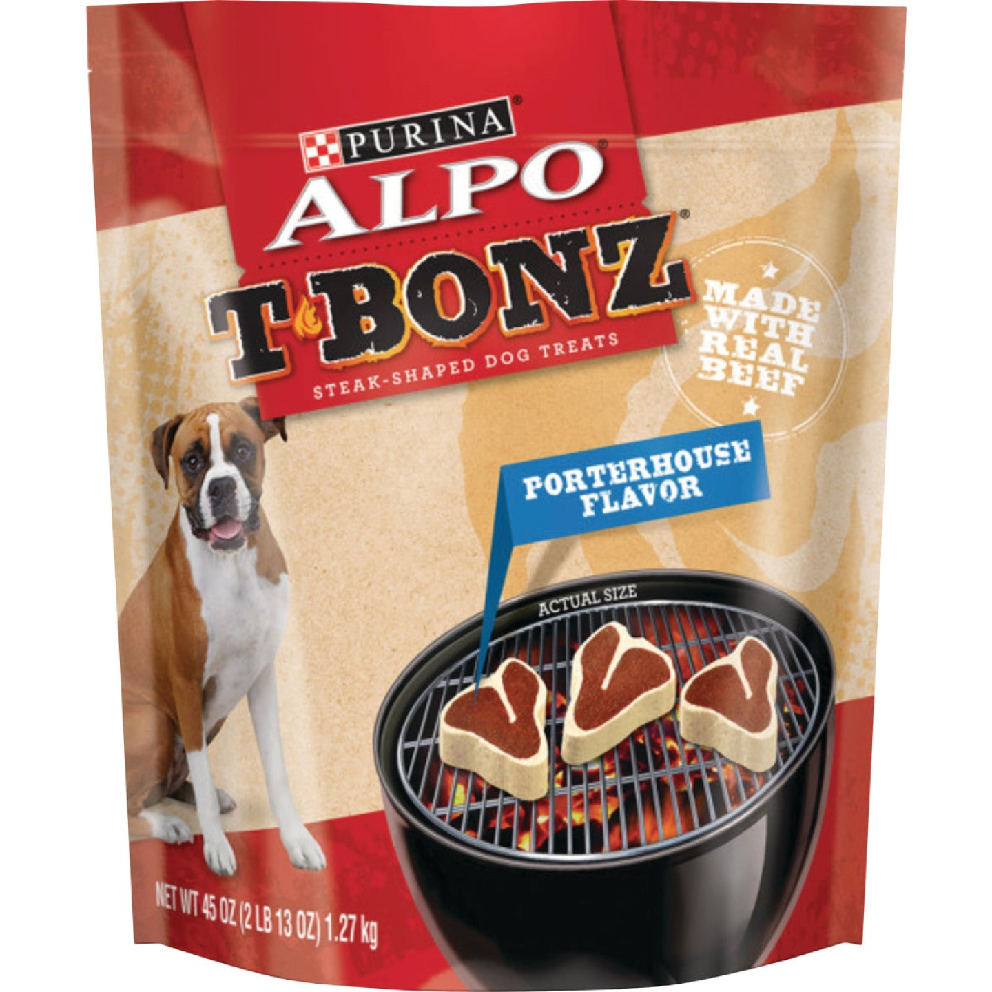 Purina Alpo T-Bonz Porterhouse Flavor Chewy Dog Treat, 45 Oz. Image 1