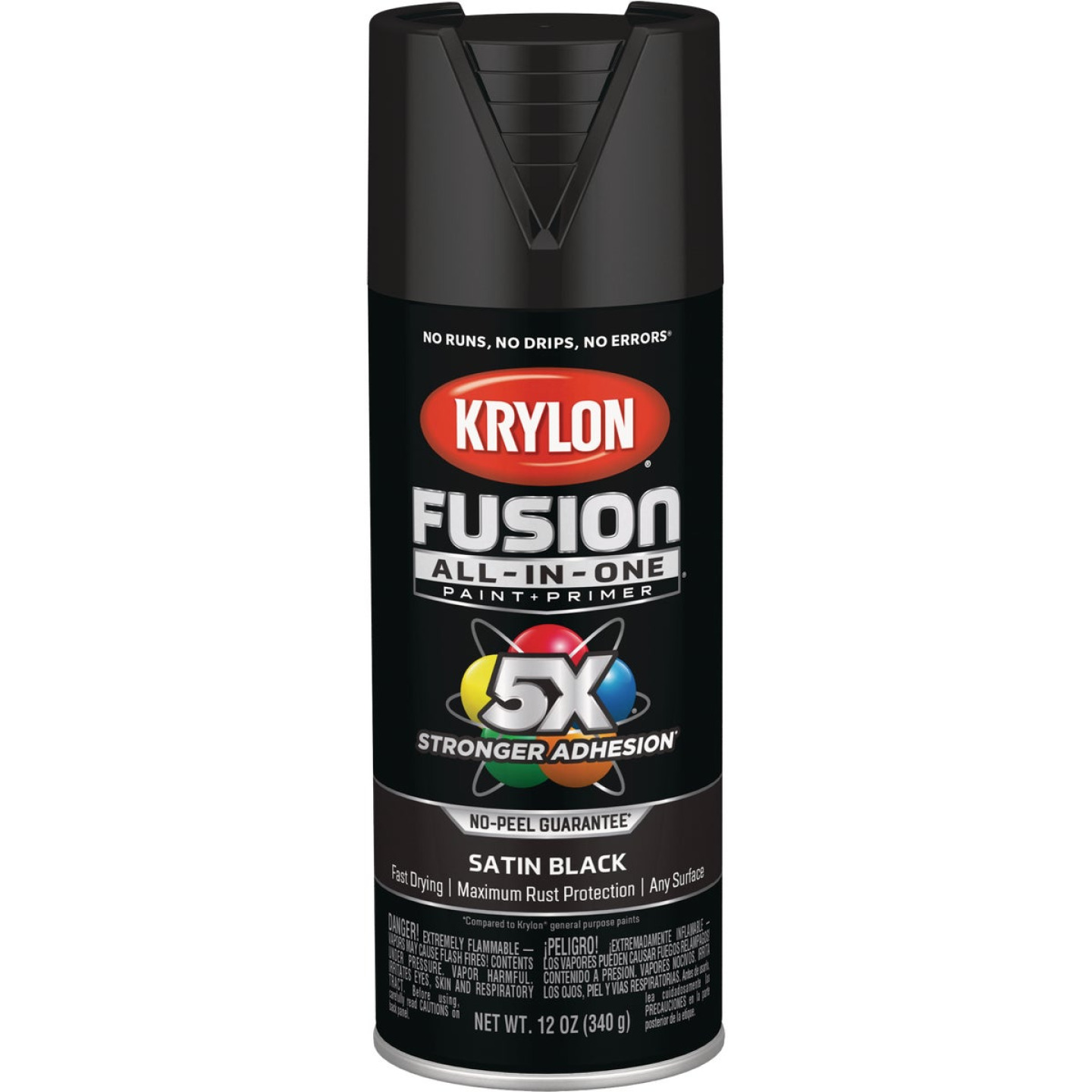 Krylon Fusion All-In-One Satin Spray Paint & Primer, Black Image 1