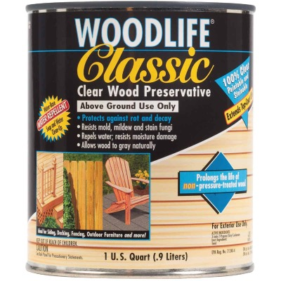 Rust-Oleum Woodlife Clear Water-Based Classic Wood Preservative, 1 Qt.