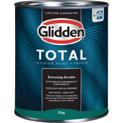 Glidden Total Interior Paint + Primer Flat Ultra Deep Base Quart