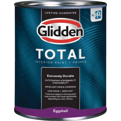 Glidden Total Interior Paint + Primer Eggshell White & Pastel Base Quart