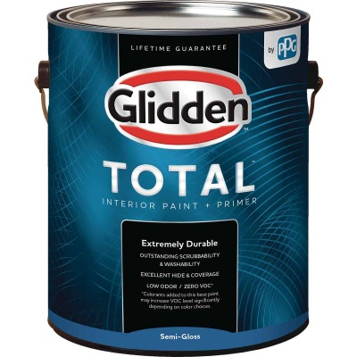 Glidden Total Interior Paint + Primer Semi-Gloss Midtone Base 1 Gallon