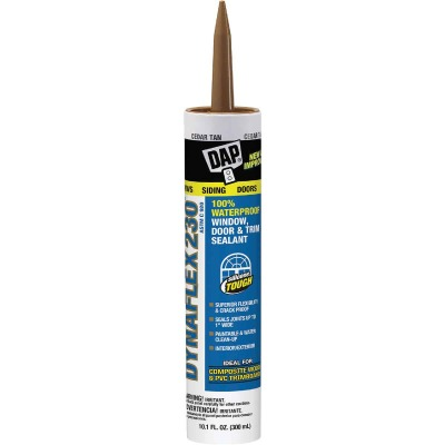 DAP DYNAFLEX 230 10.1 Oz. 100% Waterproof Window, Door, Siding & Trim Elastomeric Sealant, Cedar Tan
