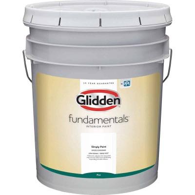 Glidden Fundamentals Interior Paint Flat White Pastel Base 5 Gallon