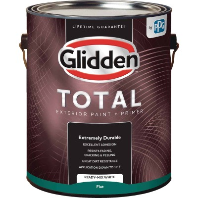 Glidden Total Exterior Paint + Primer Flat Ready Mix White 1 Gallon