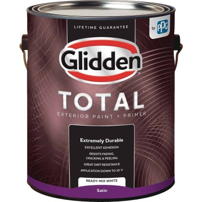 Glidden Total Exterior Paint + Primer Satin Ready Mix White 1 Gallon