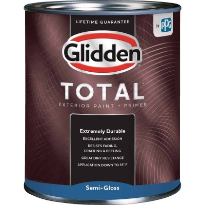 Glidden Total Exterior Paint + Primer Semi-Gloss White & Pastel Base Quart