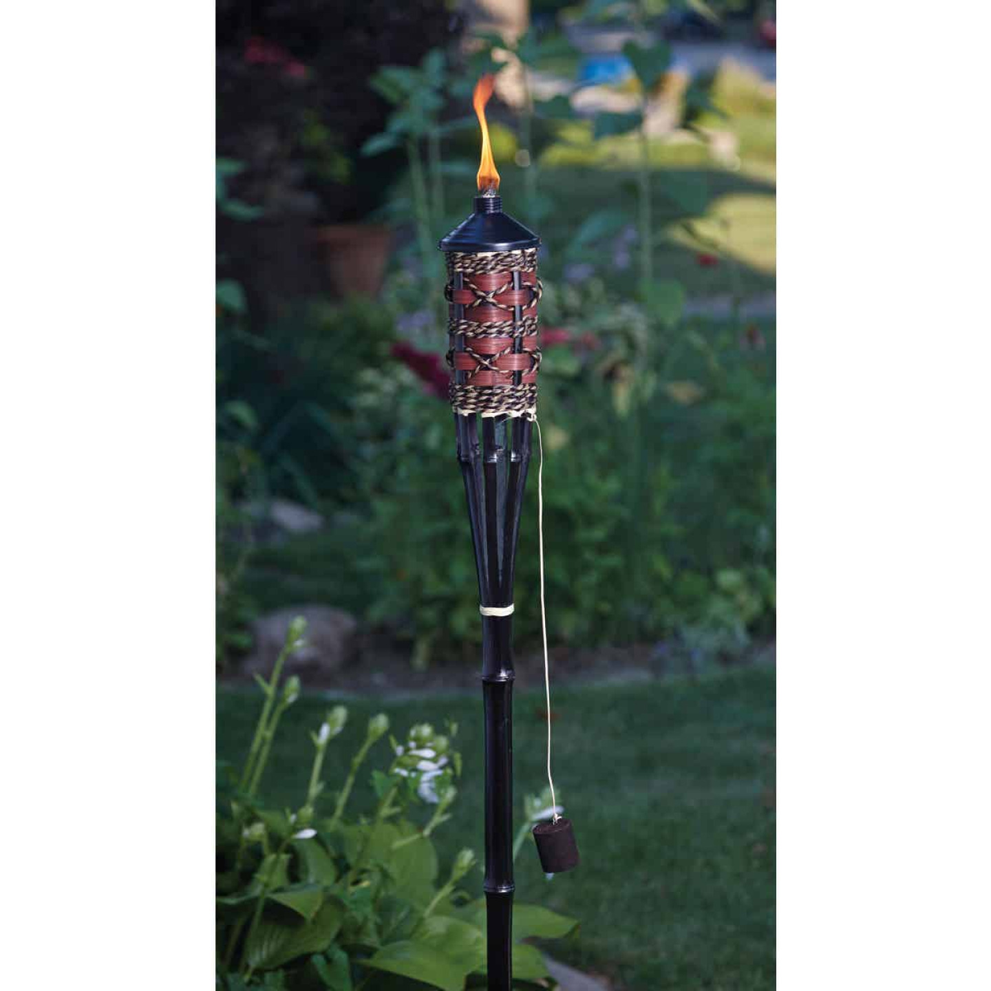 Outdoor Expressions 60 In. Brown Bamboo Patio Torch with Rattan Weave Image 2