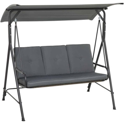 Outdoor Expressions 3-Person 71.65 In. W. x 66.93 In. H. x 49.21 In. D. Gray Patio Swing