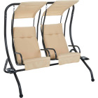 Outdoor Expressions 2-Person 67 In. W. x 67 In. H. x 53.5 In. D. Tan Patio Swing Image 1