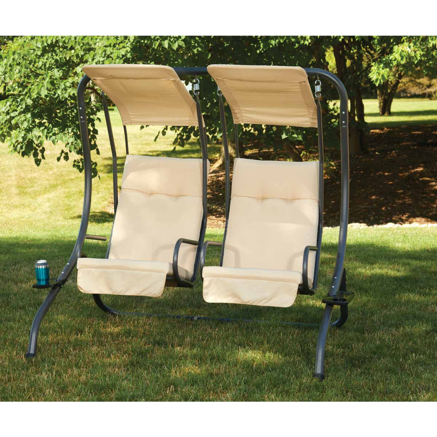 Outdoor Expressions 2-Person 67 In. W. x 67 In. H. x 53.5 In. D. Tan Patio Swing Image 3