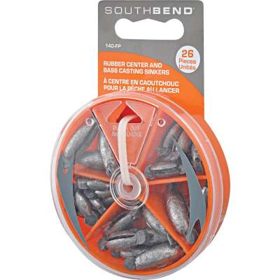 SouthBend 26-Piece Rubber Center Sinker Kit Assortment